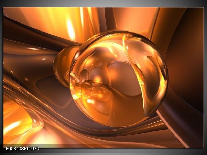 Glas schilderij Abstract | Geel, Bruin, Goud
