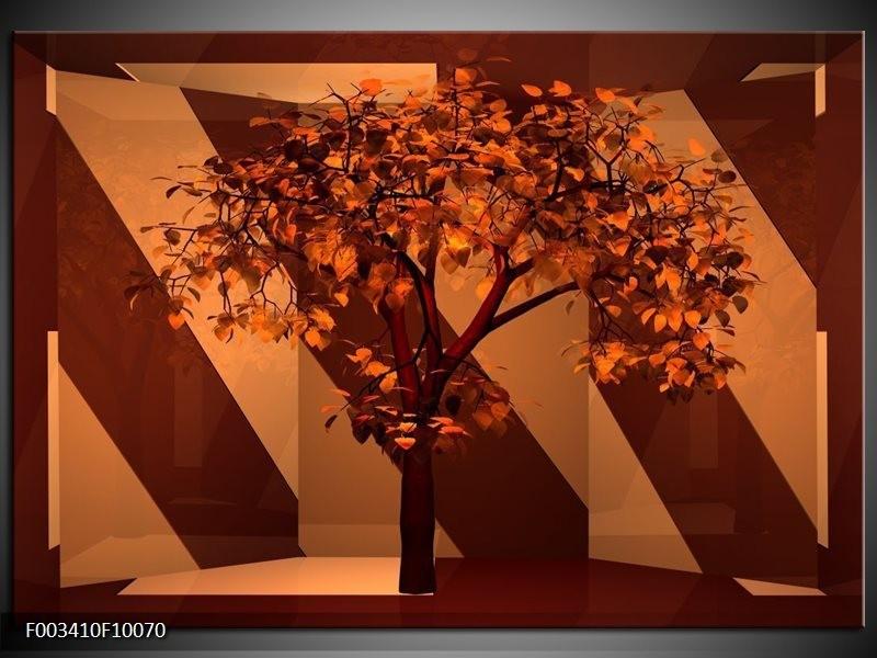 Glas schilderij Boom | Bruin, Rood