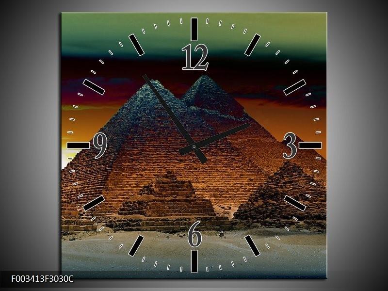 Wandklok op Canvas Egypte | Kleur: Bruin, Zwart, Geel | F003413C