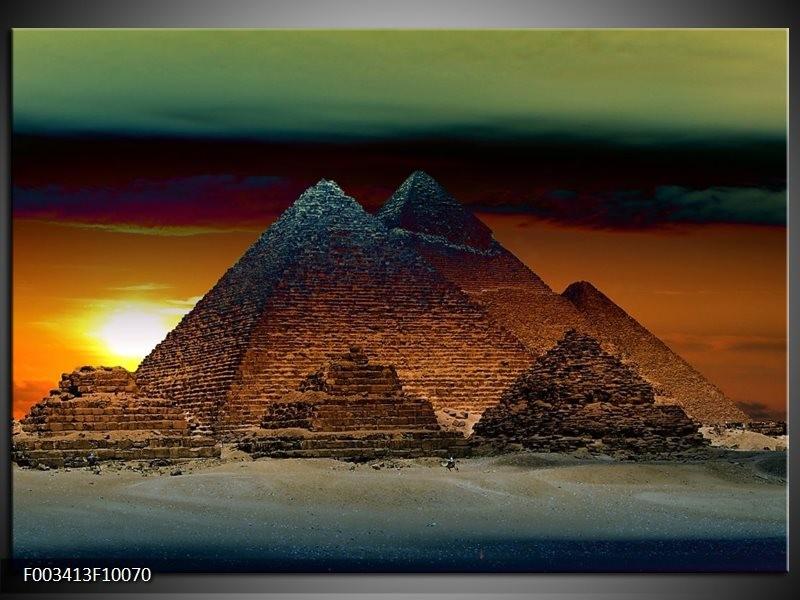 Glas schilderij Egypte | Bruin, Zwart, Geel