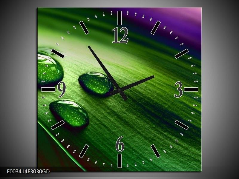 Wandklok op Glas Druppel | Kleur: Groen, Wit, Paars | F003414CGD