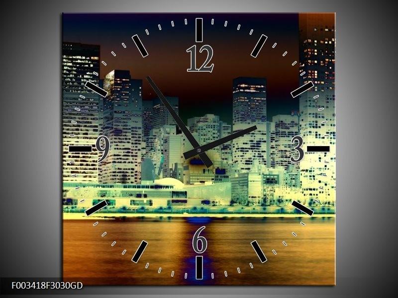 Wandklok op Glas Steden | Kleur: Geel, Blauw, Groen | F003418CGD