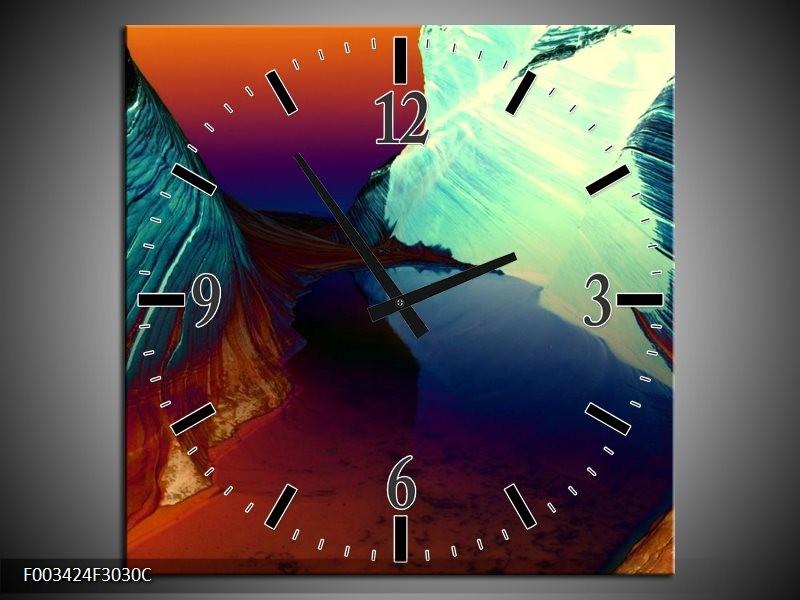 Wandklok op Canvas Natuur   Kleur: Geel, Blauw, Rood   F003424C