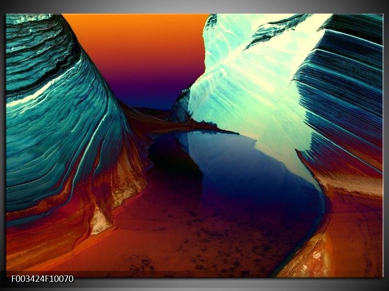 Glas schilderij Natuur | Geel, Blauw, Rood