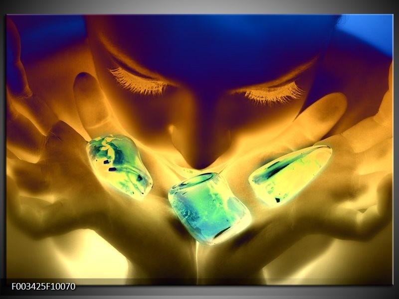 Glas schilderij Gezicht | Groen, Geel, Blauw