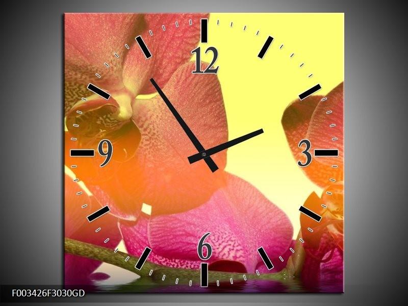 Wandklok op Glas Orchidee | Kleur: Geel, Roze, Paars | F003426CGD