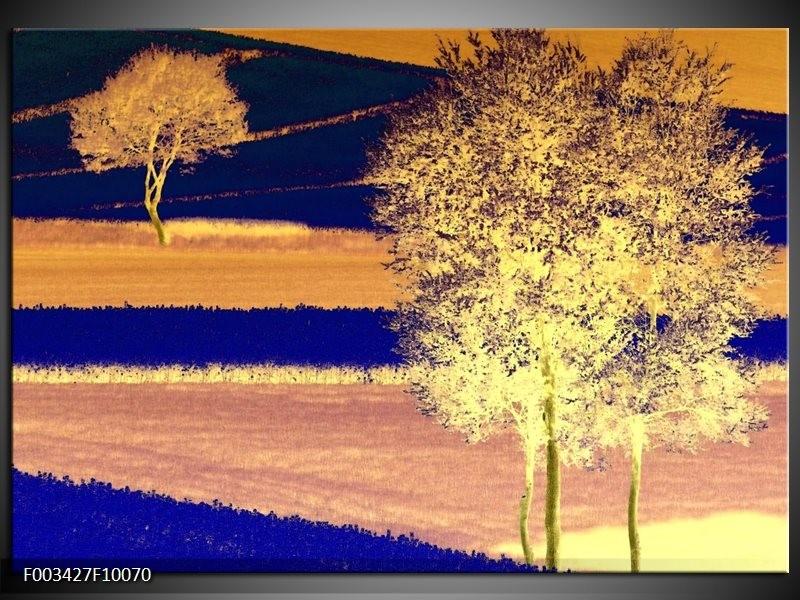 Foto canvas schilderij Boom | Geel, Blauw, Zwart