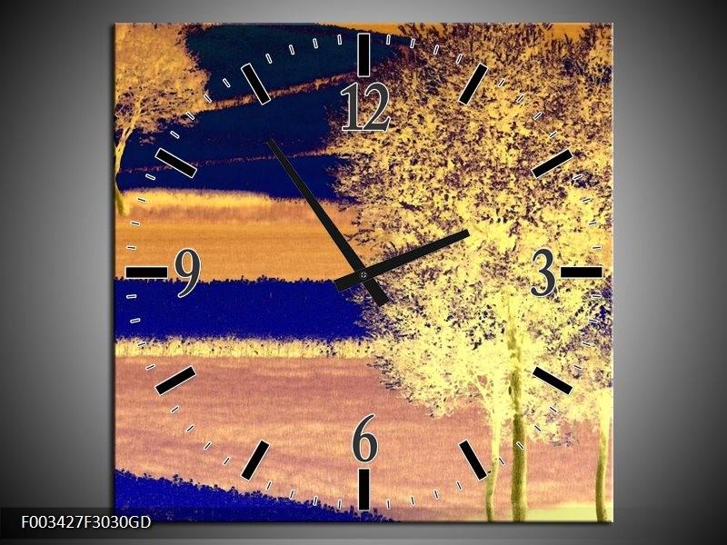 Wandklok op Glas Boom | Kleur: Geel, Blauw, Zwart | F003427CGD
