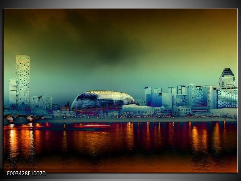 Foto canvas schilderij Steden | Oranje, Blauw, Rood