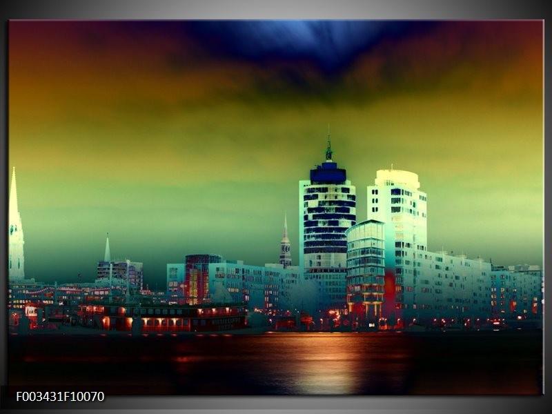 Foto canvas schilderij Steden | Groen, Geel, Paars