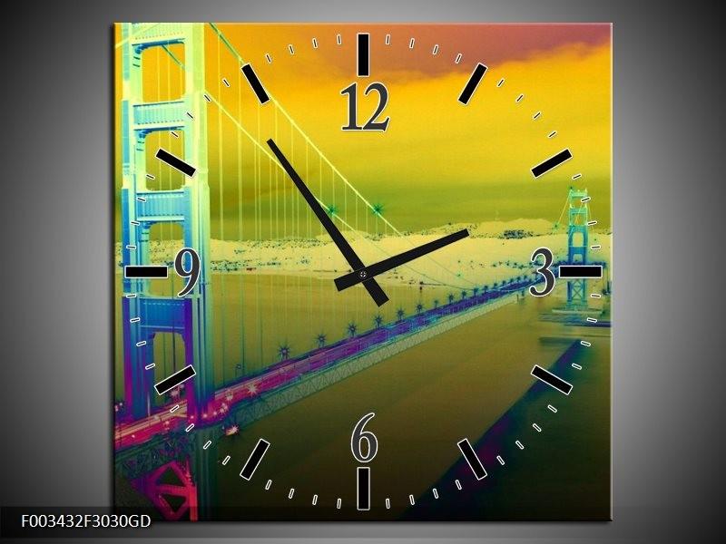 Wandklok op Glas Brug | Kleur: Groen, Geel, Paars | F003432CGD