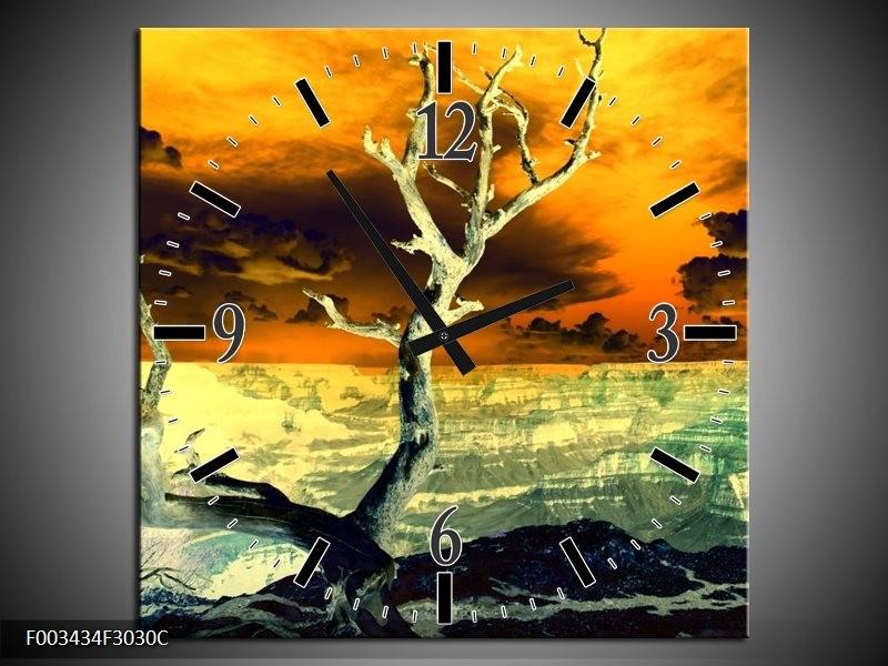 Wandklok op Canvas Natuur   Kleur: Geel, Bruin, Wit   F003434C