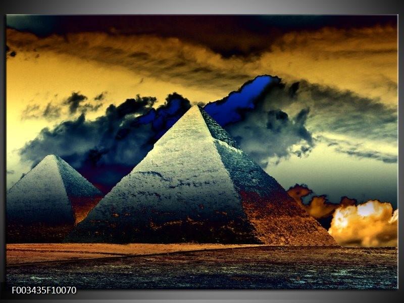 Glas schilderij Piramide | Zwart, Geel, Bruin