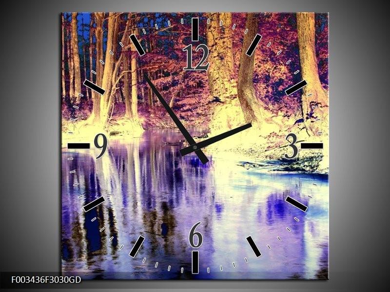 Wandklok op Glas Natuur | Kleur: Paars, Geel, Wit | F003436CGD