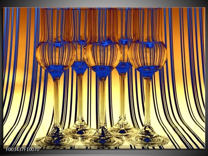Glas schilderij Glas   Geel, Blauw