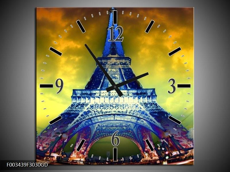 Wandklok op Glas Eiffeltoren | Kleur: Blauw, Geel, Grijs | F003439CGD