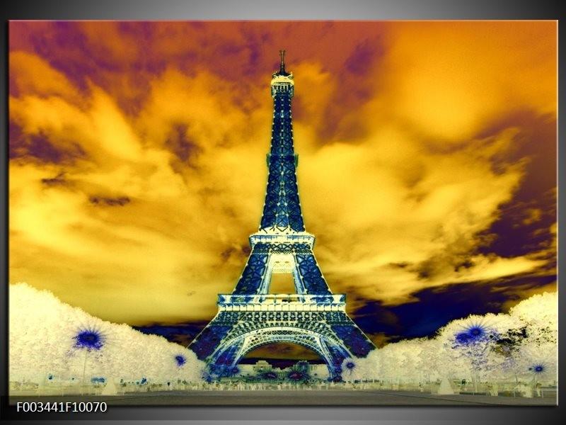 Foto canvas schilderij Eiffeltoren | Blauw, Geel, Grijs