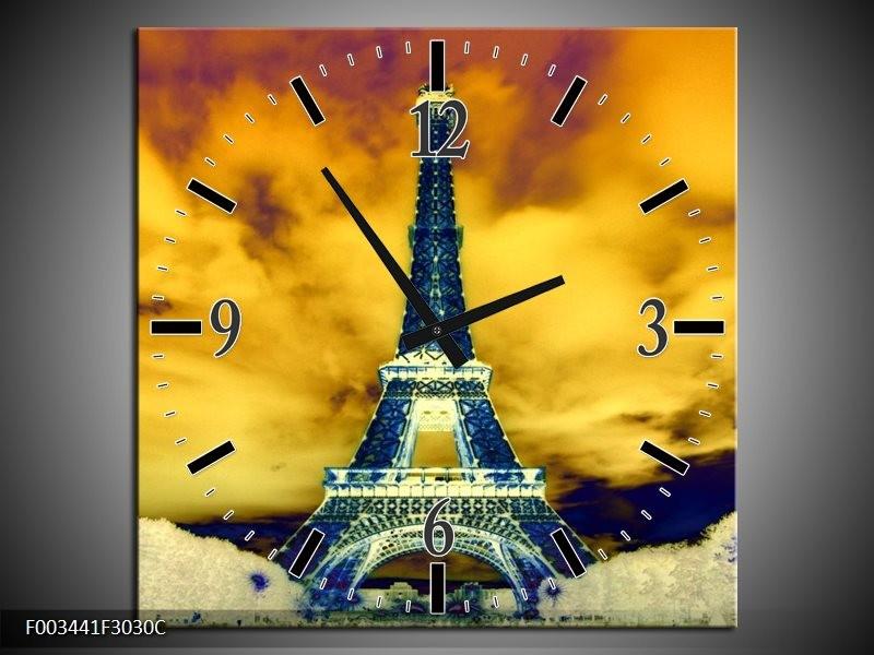 Wandklok op Canvas Eiffeltoren | Kleur: Blauw, Geel, Grijs | F003441C
