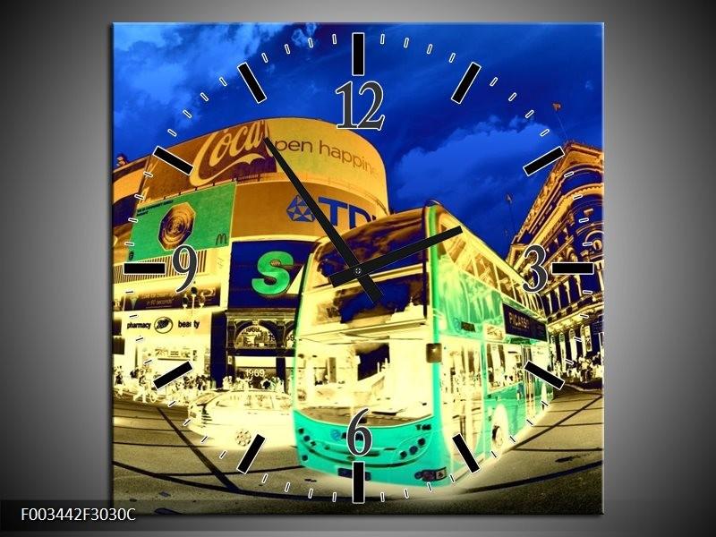 Wandklok op Canvas Londen | Kleur: Geel, Blauw, Groen | F003442C