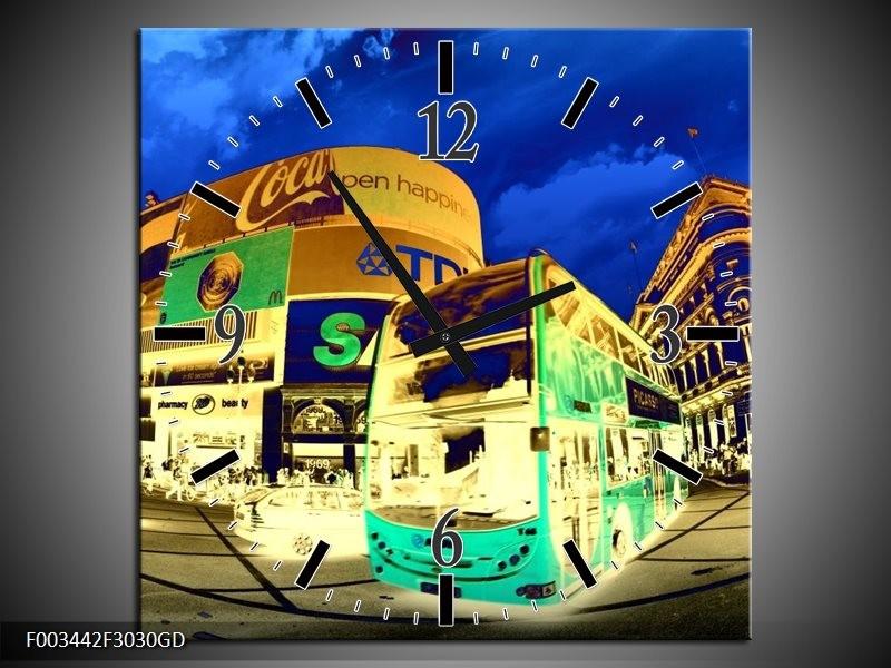 Wandklok op Glas Londen   Kleur: Geel, Blauw, Groen   F003442CGD