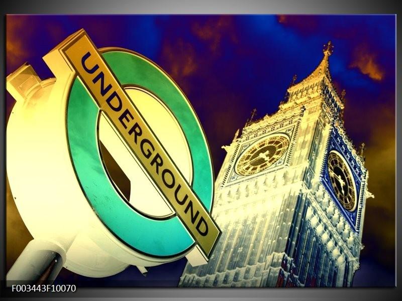 Foto canvas schilderij Londen   Geel, Blauw, Groen