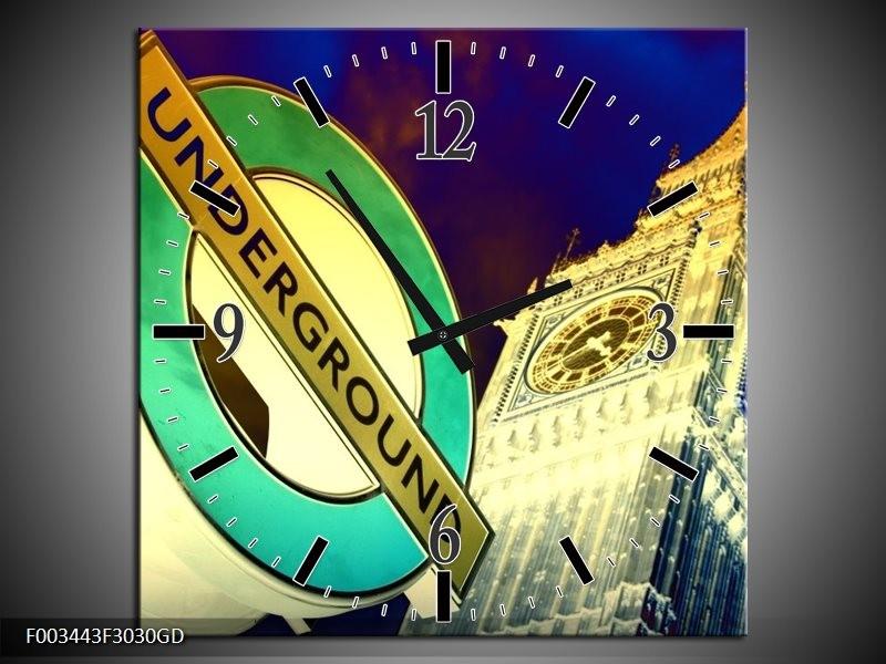 Wandklok op Glas Londen   Kleur: Geel, Blauw, Groen   F003443CGD