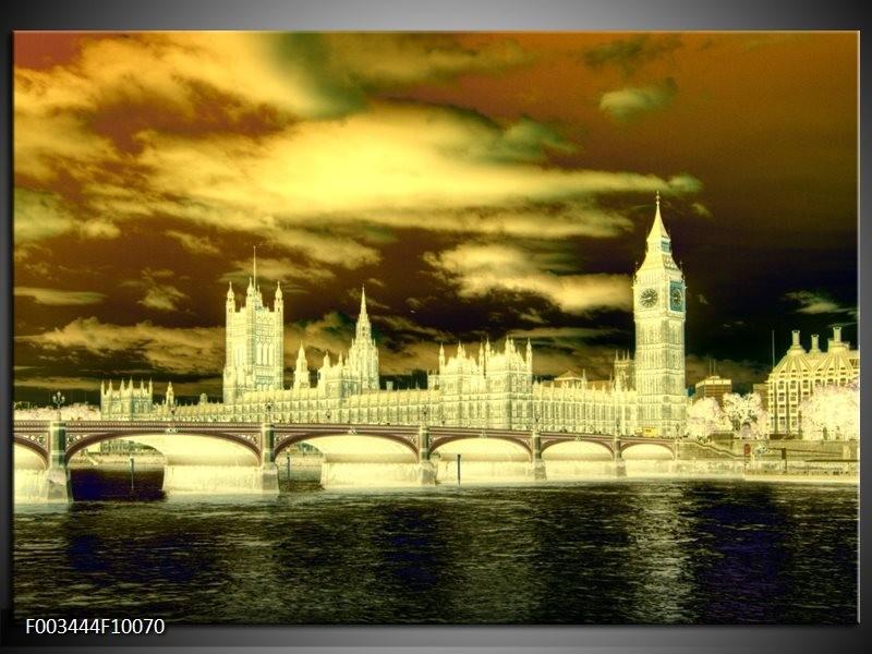 Foto canvas schilderij Londen | Geel, Groen, Creme