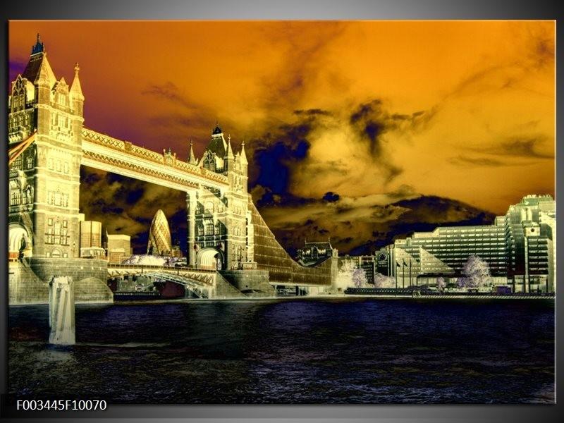 Glas schilderij Londen | Geel, Blauw, Crème