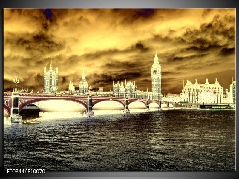 Foto canvas schilderij Londen | Geel, Creme, Grijs
