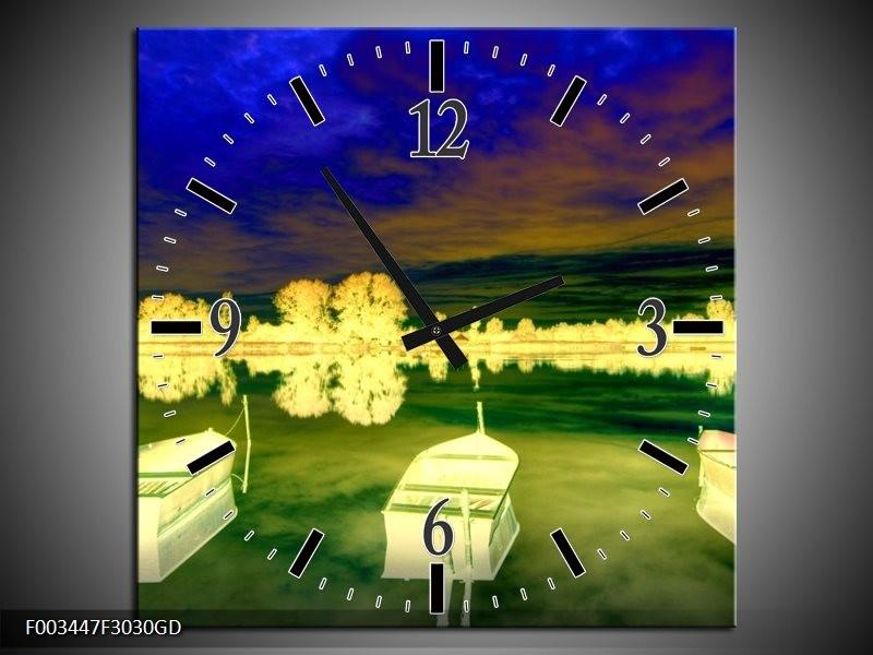 Wandklok op Glas Boot | Kleur: Geel, Blauw, Groen | F003447CGD