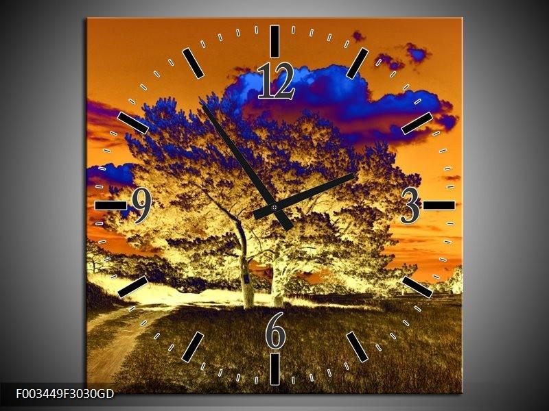 Wandklok op Glas Natuur | Kleur: Oranje, Blauw, Geel | F003449CGD