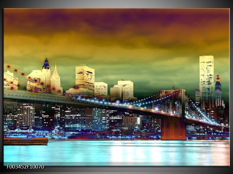 Glas schilderij Steden   Oranje, Blauw, Geel