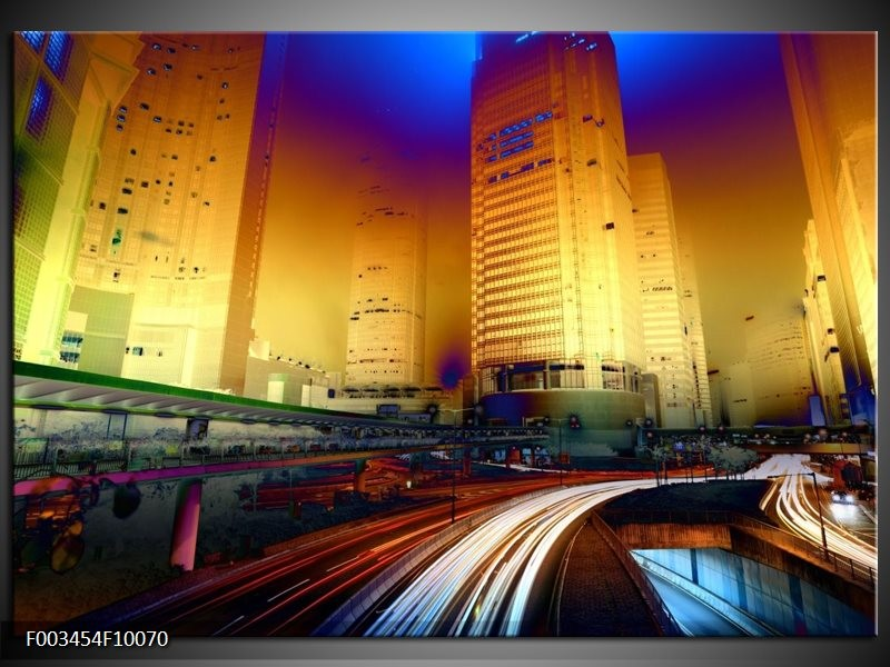 Foto canvas schilderij Steden | Blauw, Geel, Oranje