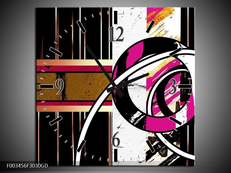 Wandklok op Glas Abstract   Kleur: Roze, Zwart, Wit   F003456CGD
