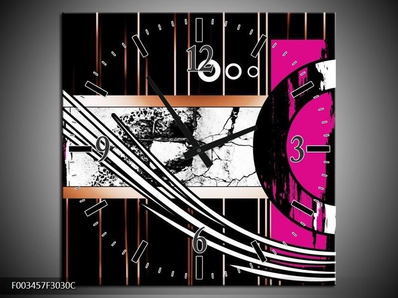 Wandklok op Canvas Abstract | Kleur: Roze, Zwart, Wit | F003457C