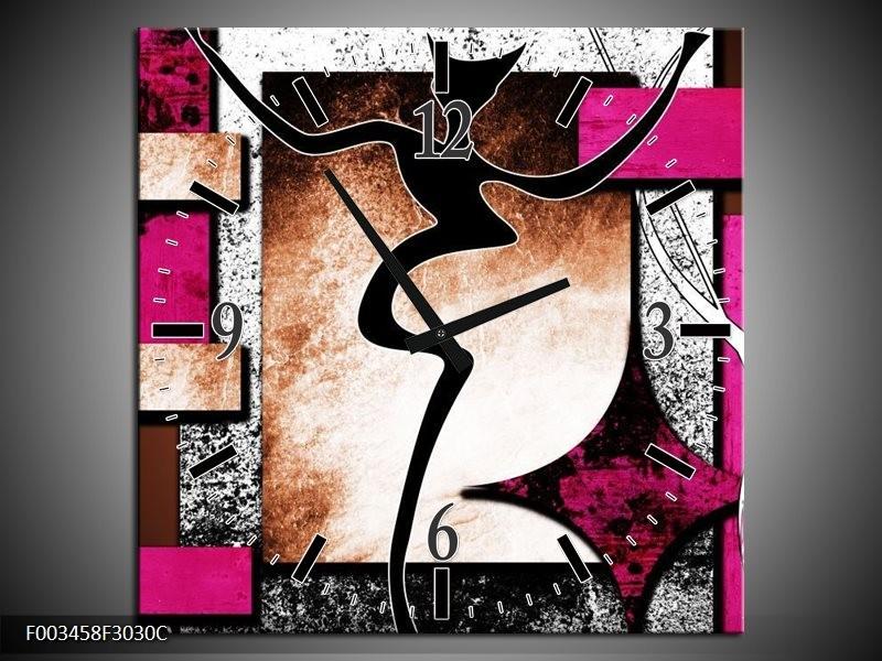Wandklok op Canvas Abstract   Kleur: Roze, Zwart, Wit   F003458C