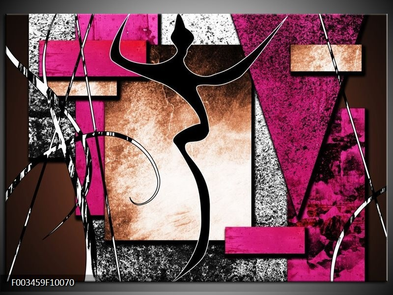 Foto canvas schilderij Abstract | Roze, Zwart, Wit
