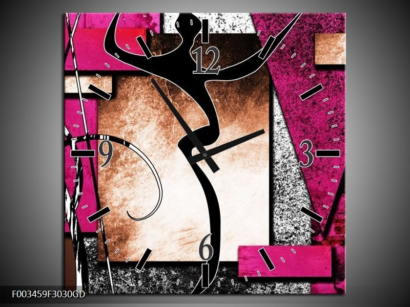 Wandklok op Glas Abstract | Kleur: Roze, Zwart, Wit | F003459CGD