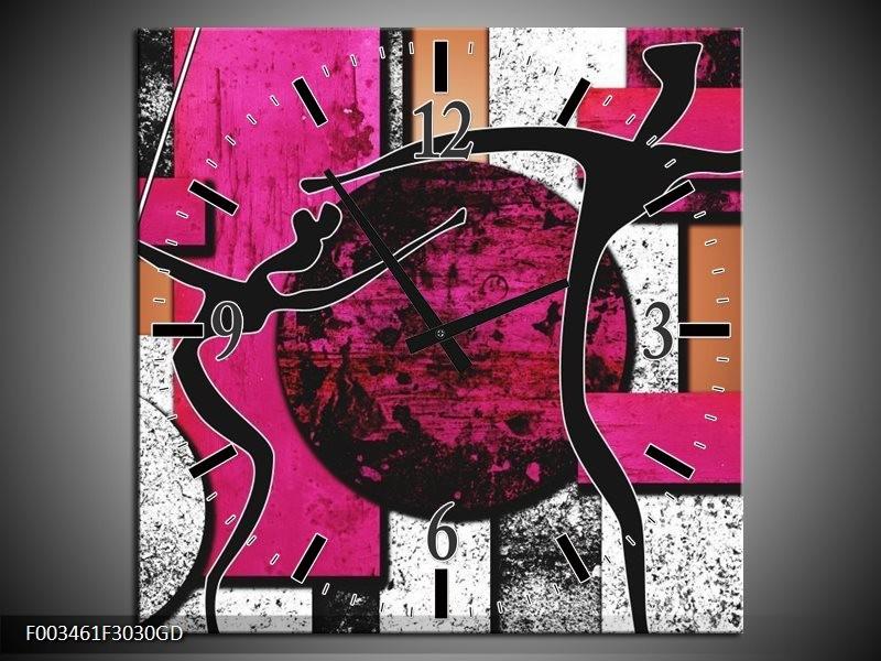Wandklok op Glas Abstract   Kleur: Roze, Zwart, Wit   F003461CGD