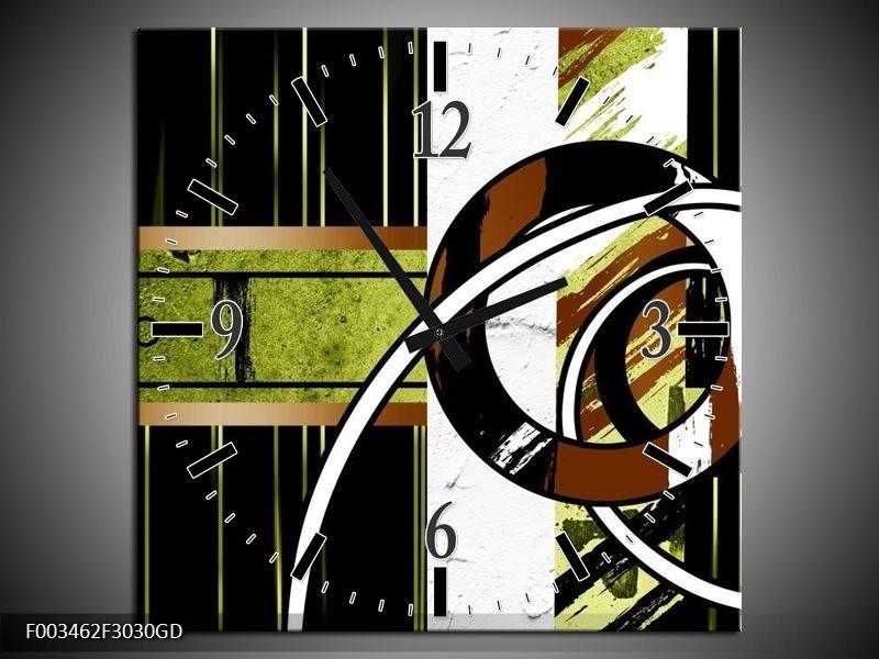 Wandklok op Glas Abstract | Kleur: Bruin, Groen, Zwart | F003462CGD
