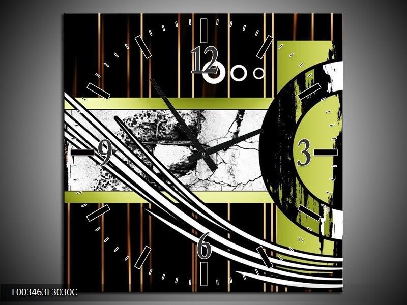 Wandklok op Canvas Abstract | Kleur: Bruin, Groen, Zwart | F003463C