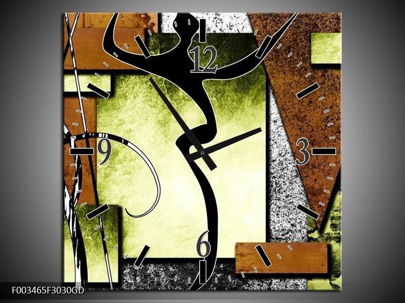Wandklok op Glas Abstract | Kleur: Bruin, Groen, Zwart | F003465CGD