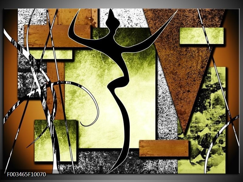 Glas schilderij Abstract | Bruin, Groen, Zwart