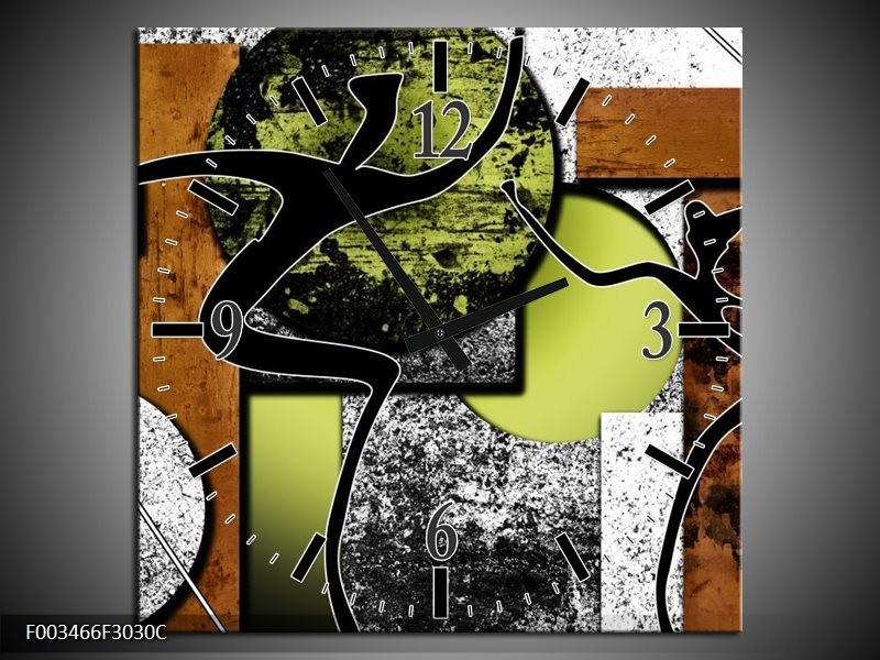 Wandklok op Canvas Abstract | Kleur: Bruin, Groen, Zwart | F003466C