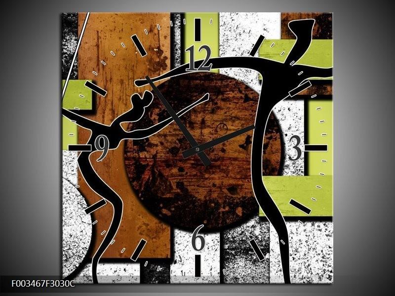 Wandklok op Canvas Abstract | Kleur: Bruin, Groen, Zwart | F003467C