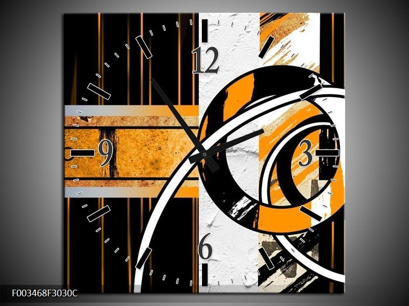 Wandklok op Canvas Abstract | Kleur: Oranje, Bruin, Wit | F003468C