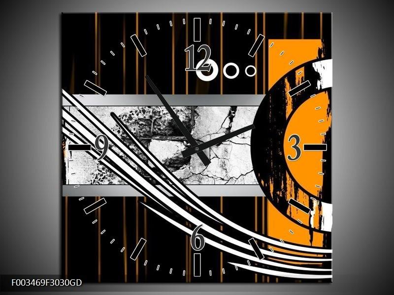 Wandklok op Glas Abstract   Kleur: Oranje, Bruin, Wit   F003469CGD