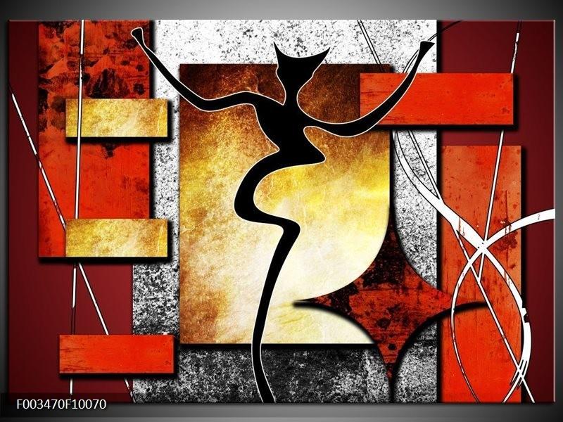 Foto canvas schilderij Abstract | Rood, Grijs, Geel