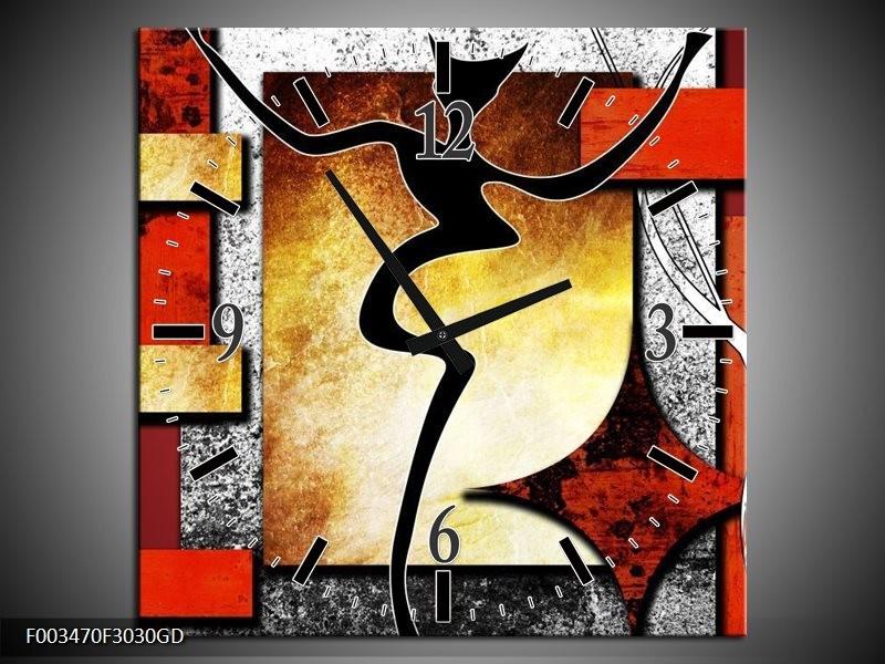 Wandklok op Glas Abstract | Kleur: Rood, Grijs, Geel | F003470CGD
