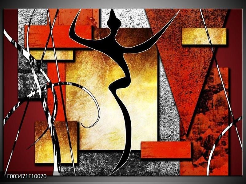 Glas schilderij Abstract | Rood, Grijs, Geel
